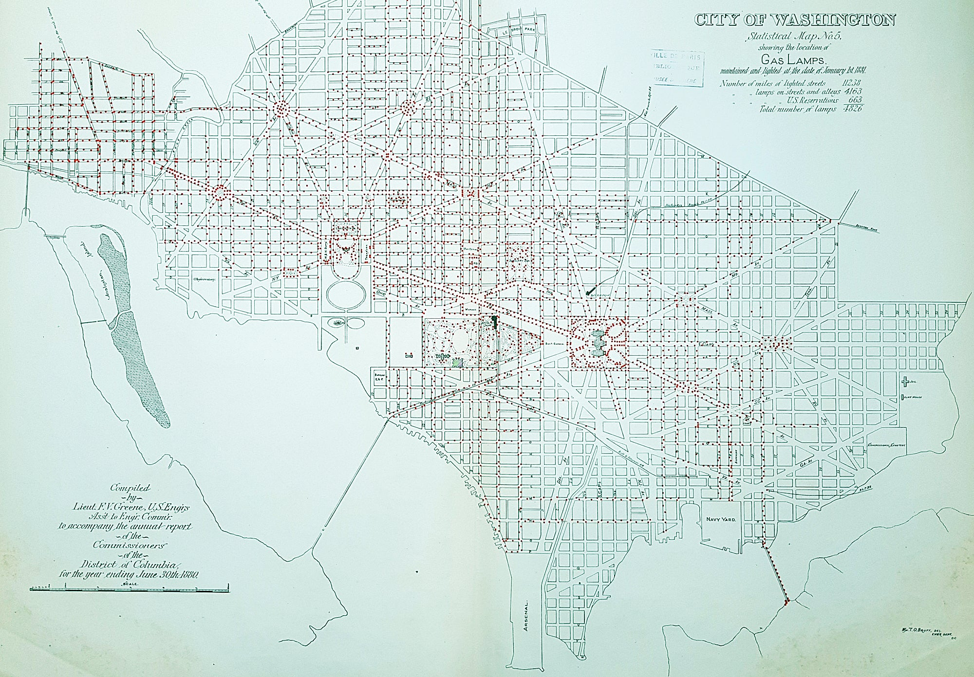 1880 F V Greene Large Antique Map Location of the Gas Lamps in Washington DC