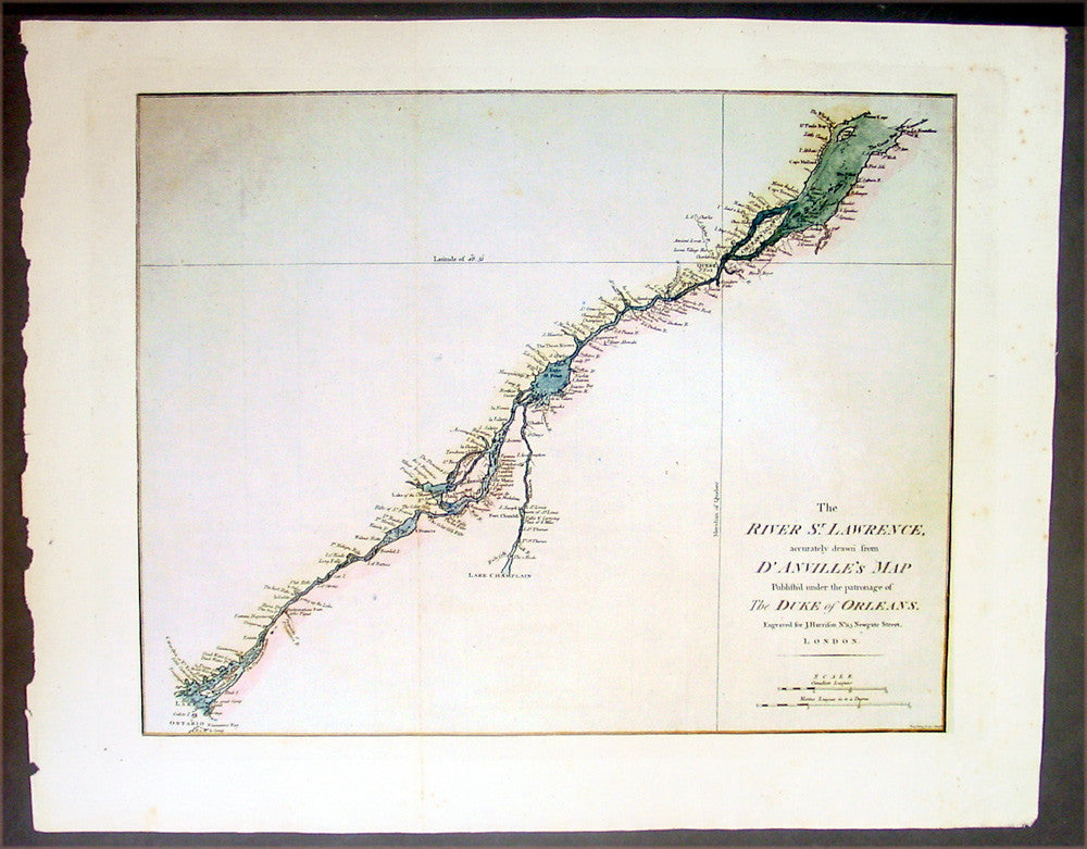 Harrison Antique Map Of The St Lawrence River Canada - St lawrence river on us map