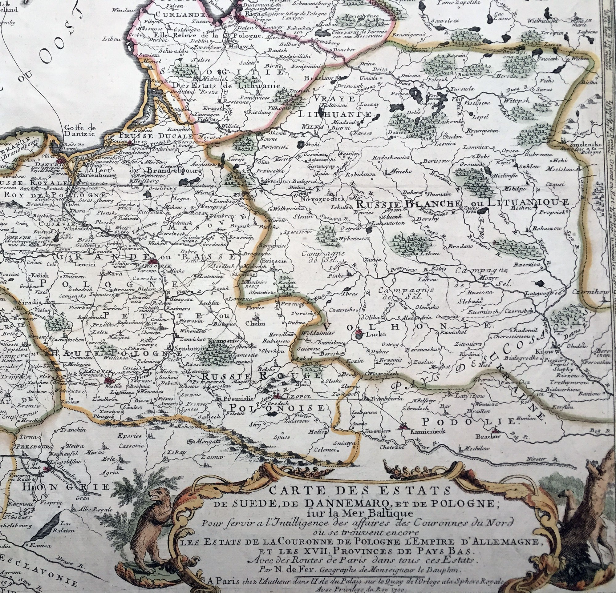 1700 De Fer Large Antique Map Northern Europe Latvia Lithuania