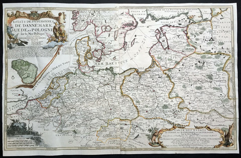1700 De Fer Large Antique Map Northern Europe, Latvia, Lithuania, Poland, Baltic