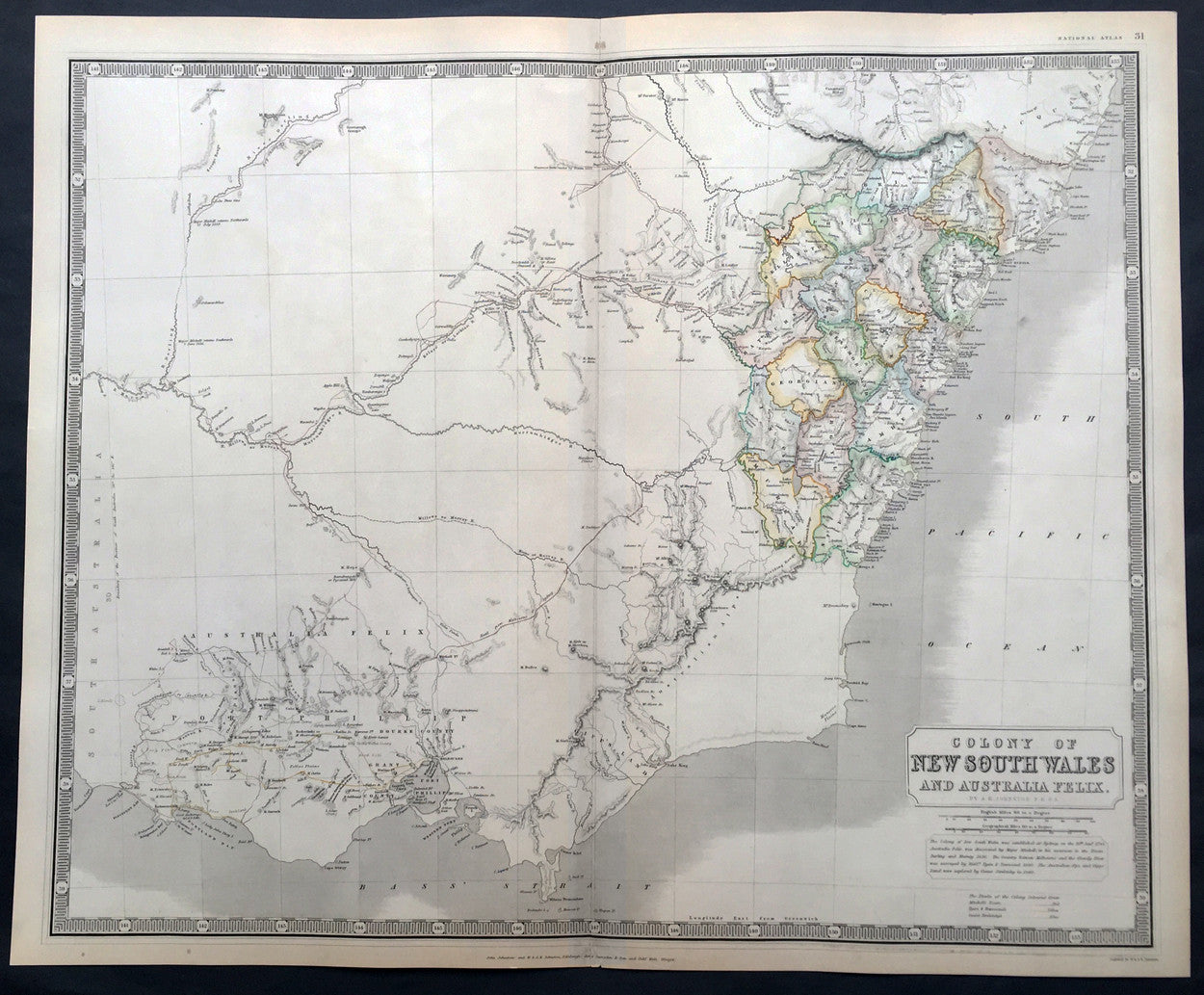 1845 johnston large antique map of new south wales victoria australia felix