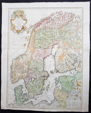 1788 Delisle & Bauche Large Original Antique Map of Scandinavia, Estonia, Latvia