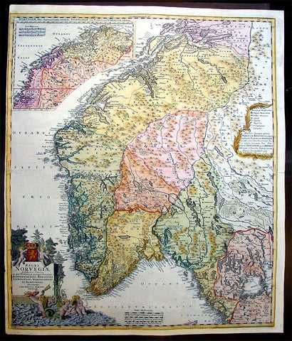 1720 Homann Large Antique Map of Norway