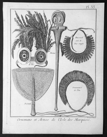 1778 Capt Cook Antique Print of Ornaments & Arms of the Marquesas Isles in 1774