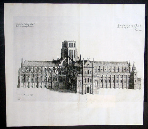 1683 Daniel King & William Dugdale Antique Print of Old St Pauls Cathedral London - Pre Great Fire
