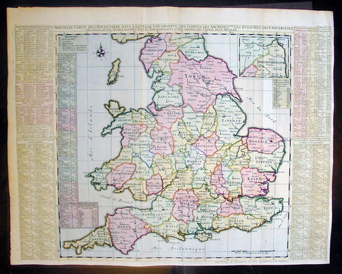 1720 Chatelain Antique Map of England & Wales