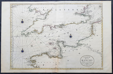 1692 Jaillot Large Antique Map Sea Chart The English Channel during 9 Years War