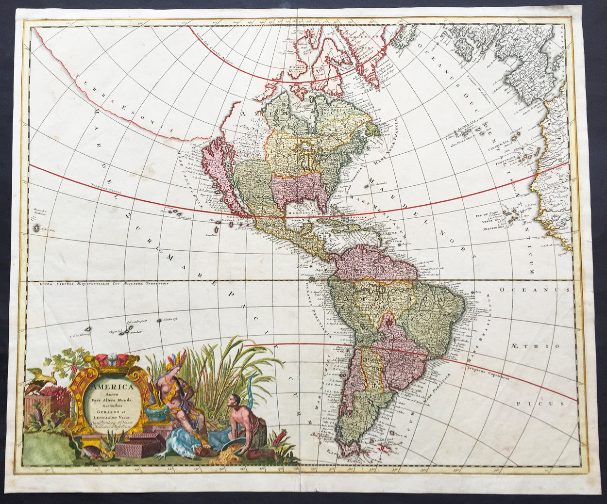 Map Of Old America.1710 G L Valck Large Old Antique Map Of America California As