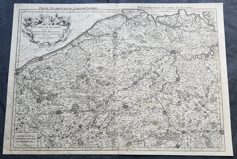 1692 Alexis Jaillot Large Antique Map Flanders Region of Netherlands & Belgium