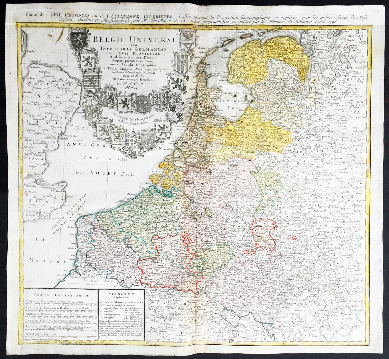 1748 homann mayer large old antique map of the netherlands belgium holland
