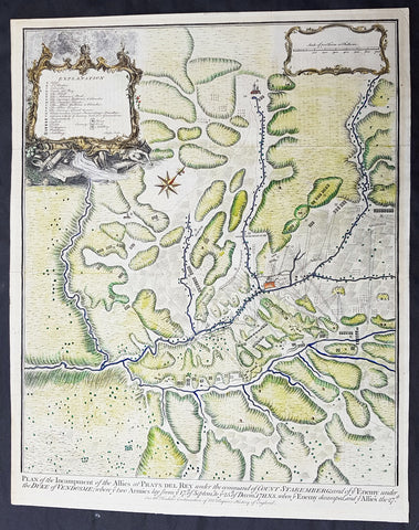 1745 Tindal Large Antique Map Plan The Battle of Prado del Rey, Andalusia Spain