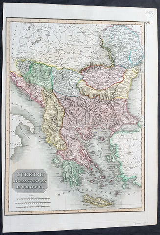 1817 John Thomson Large Antique Map Turkey in Europe Greece to Bosnia & Hungary