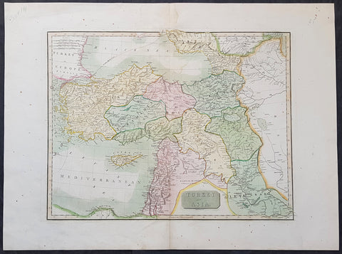 1817 J. Thomson Large Antique Map Turkey in Asia, Armenia, Iraq, Syria Palestine, Cyprus