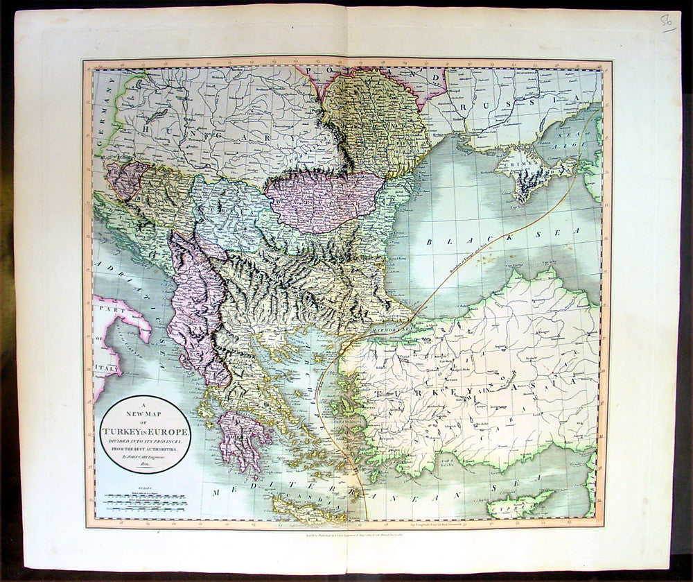 1801 Cary Antique map of Turkey in Europe  Greece Balkans