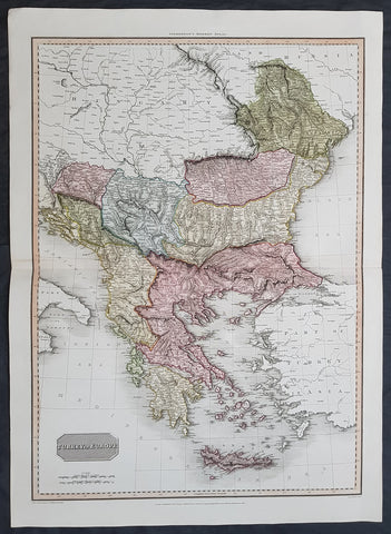1814 John Pinkerton Large Antique Map of Turkey in Europe - Greece to Hungary