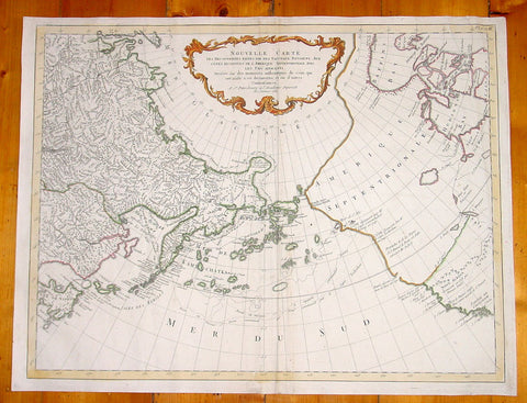 1784 Francois Santini & Gerhard Muller Large Rare Antique Map of Western America California to Alaska