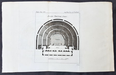 1787 Du Bocage & Barthelemy Antique Plan of a Greek Open Air Theatre