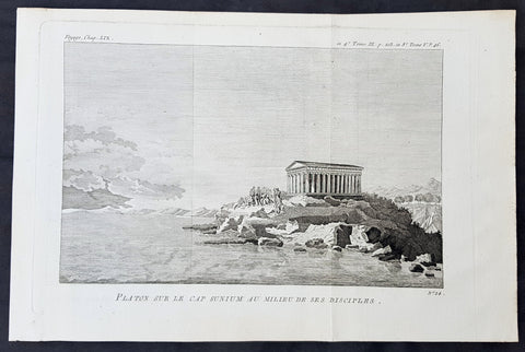 1787 Du Bocage & Barthelemy Antique Print Temple of Poseidon w Plato & Disciples