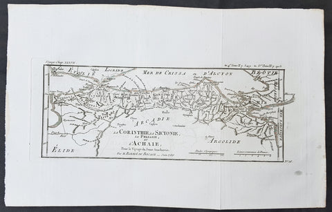 1786 Du Bocage & Barthelemy Antique Map Gulf of Corinth, Patra, Achaea Greece