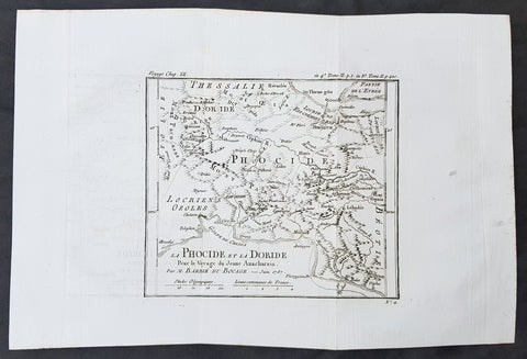 1785 Du Bocage & Barthelemy Antique Map of Phocis, Greece - Oracle of Delphi