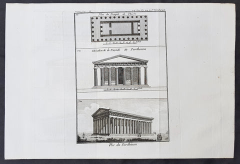 1787 Du Bocage & Barthelemy Antique Views & Plan of The Parthenon, Athens Greece