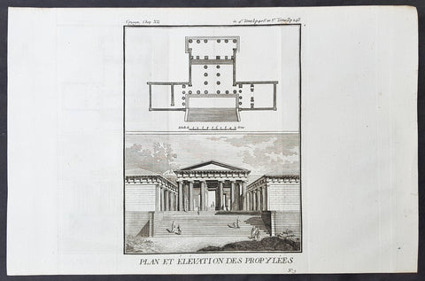 1787 Du Bocage & Barthelemy Antique Print & Plan of a Greek Propylaea or Gateway