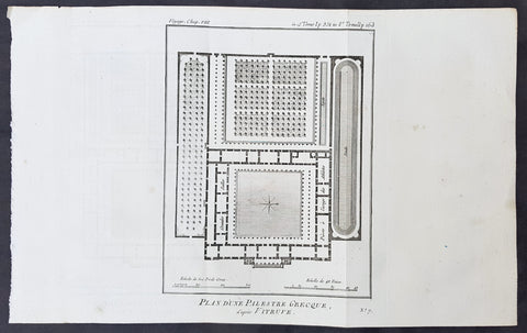 1787 Du Bocage & Barthelemy Antique Plan of a Greek Gymnasium School or Palestra