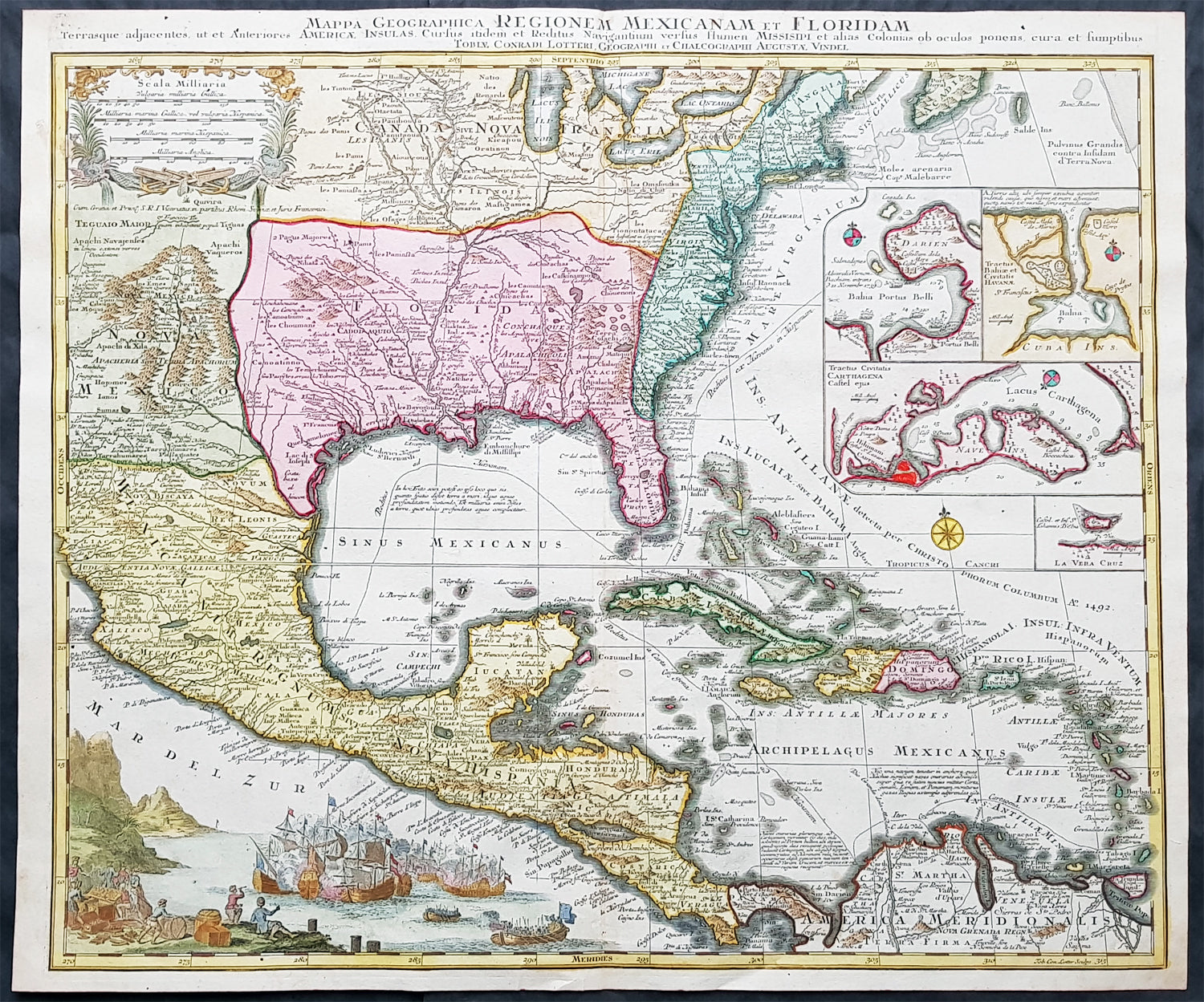 1736 seutter large old antique map spanish north america colonial 1736 seutter large old antique map spanish north america colonial united states gumiabroncs Gallery