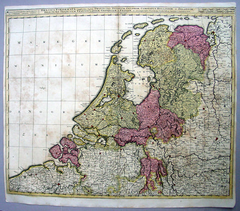 1710 Valk Large Antique Map of The Netherlands, Belgium Federation, Holland