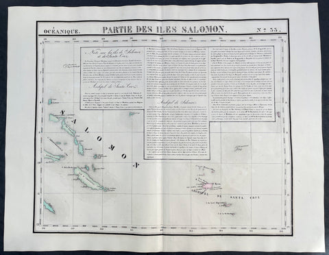1825 Philippe Vandermaelen Large Antique Map of The Solomon Islands