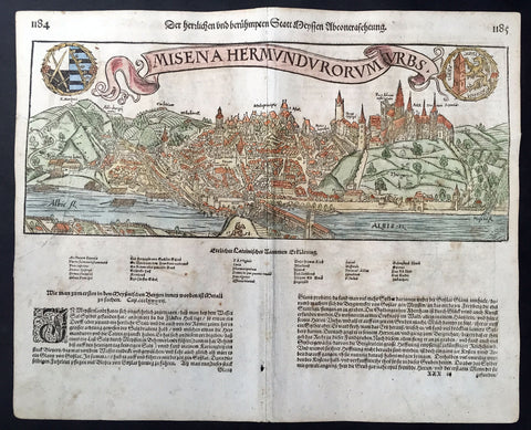 1558 Munster, Hiob Magdeburg Antique Print of Meissen & Dresden Saxonia Germany