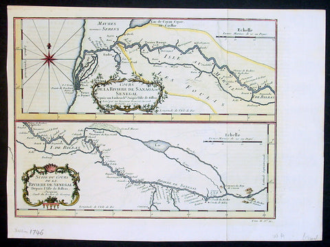 1746 Bellin Antique Map The Course of Sangha River, Cameroon & The Congo, Africa