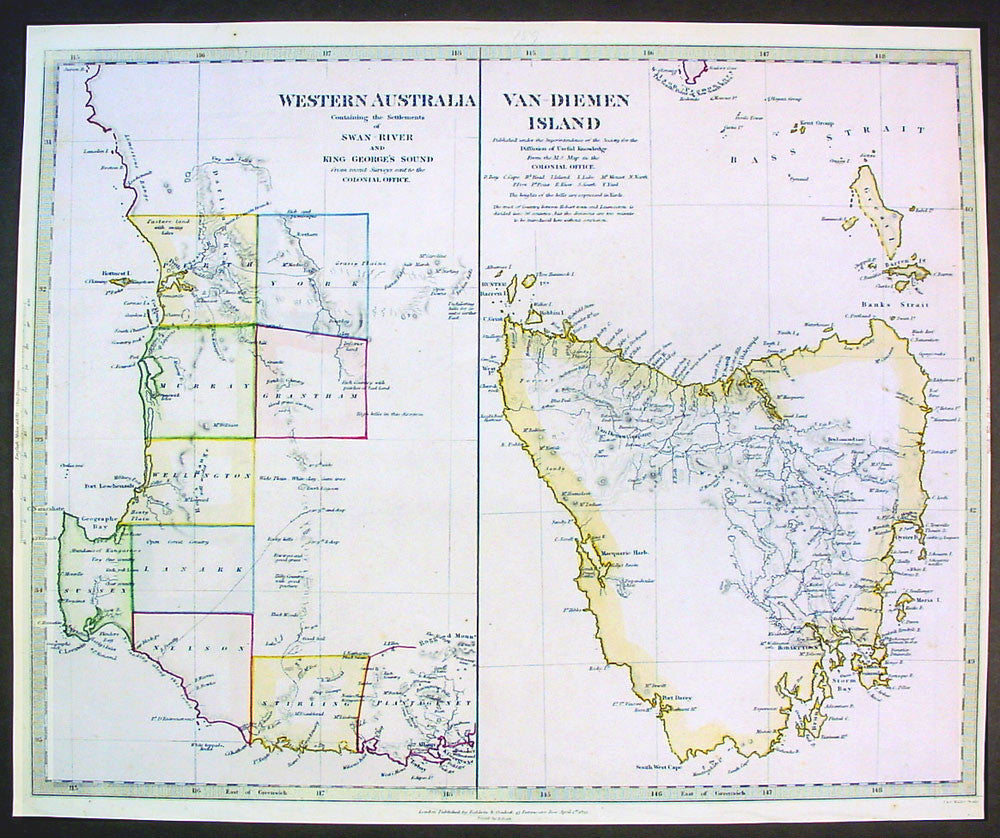 Map Of Australia And Tasmania.1833 Sduk Map Of Western Australia Tasmania