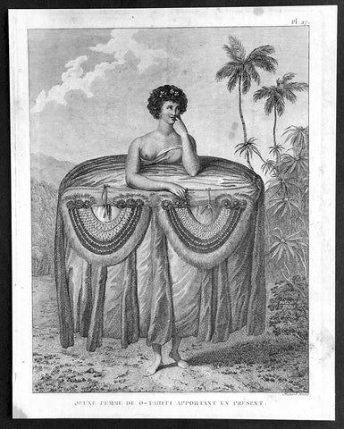 1785 Capt. Cook Visit to Tahiti in 1777 - Antique Print of Gifts for Cook & Men