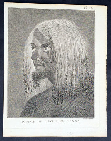 1778 Capt. Cook Antique Print of a Man of the Tanna Island, Vanuatu in 1774