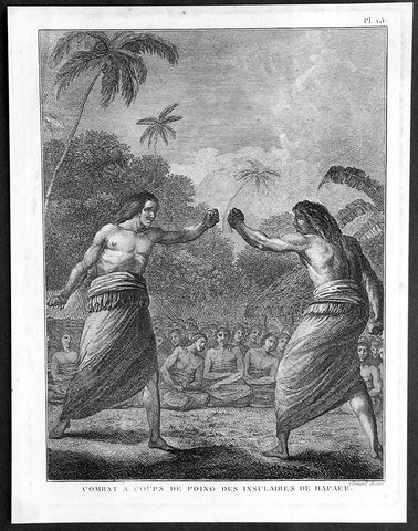 1785 Capt. Cook Antique Print Boxing Match on Ha'apai Isle Tonga Islands in 1777