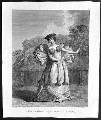 1784 Capt Cook Original Antique Print 1st Edition, Tahitian Dancing Girl in 1777