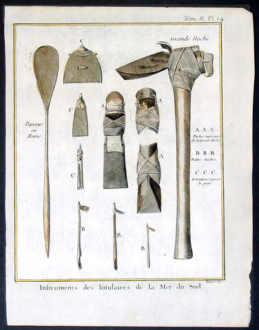 1778 Capt Cook Antique Print of Tools Axes, Scrapers, Paddles South Sea Islands