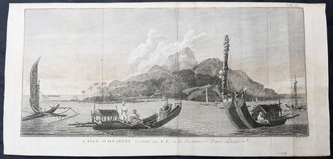 1780 Cook Benard Large Antique Print of Many Various Ships & Boats in Tahiti