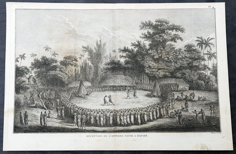 1785 Capt Cook Antique Print Cook Reception on Lifuka Island, Haapai Tonga, 1777