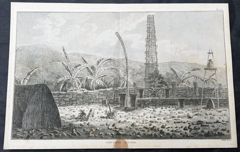 1785 Capt Cook Antique Print Interior of a Heiau, Island of Kauai Hawaii in 1778