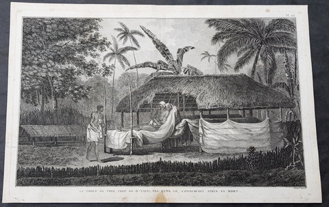 1785 Capt Cook Antique Print The Remains of Chief Vehiatua II (Tu) Tahiti, 1777