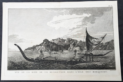 1780 Cook Benard Large Antique Print View of Resolution Bay, Marquesas Islands