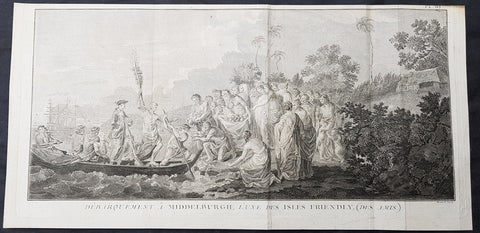 1778 Capt Cook Antique Print of Capt Cook Landing on Eua Island, Tonga in 1773
