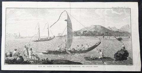 1778 Capt Cook Antique Print Matavia Bay & Boats in Tahiti French Polynesia 1773