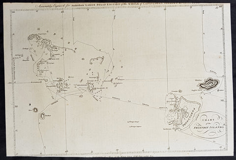 1784 Anderson Antique Map of the Tonga Islands - Capt. Cooks Voyages in 1773 & 1777