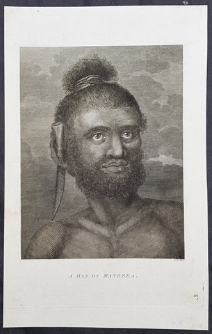 1784 Capt Cook Antique Print Man called Mourooa of Mangaia in the Cook Islands