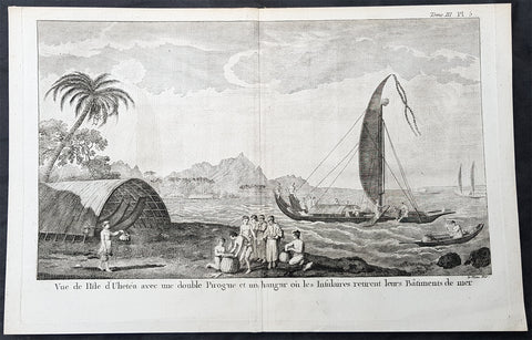 1780 Cook Benard Large Antique Print View of Raiatea Island in French Polynesia