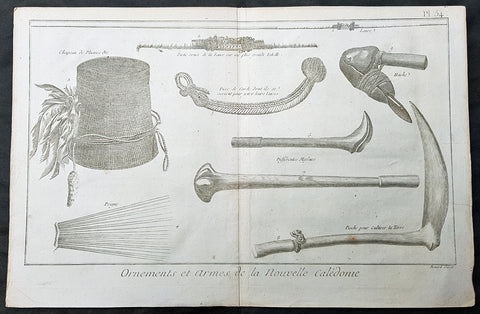 1778 Capt. Cook Antique Print Weapons Tools Hats from New Caledonia - Cook 1774