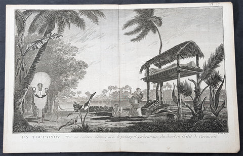 1780 Cook Benard Large Antique Print of Burial Ceremony of The Dead in Tahiti